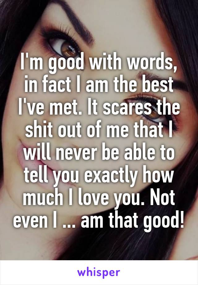 I'm good with words, in fact I am the best I've met. It scares the shit out of me that I will never be able to tell you exactly how much I love you. Not even I ... am that good!