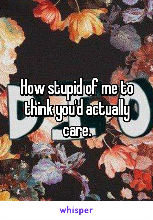 How stupid of me to think you'd actually care.