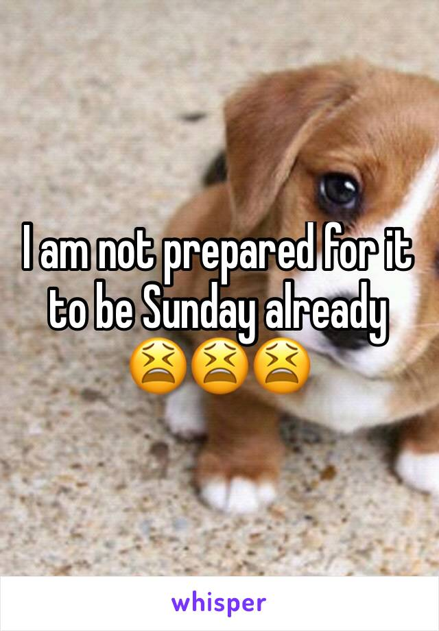 I am not prepared for it to be Sunday already  😫😫😫