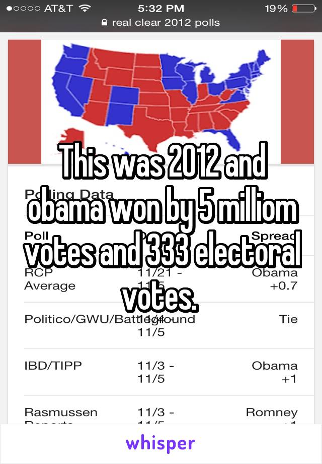 This was 2012 and obama won by 5 milliom votes and 333 electoral votes.