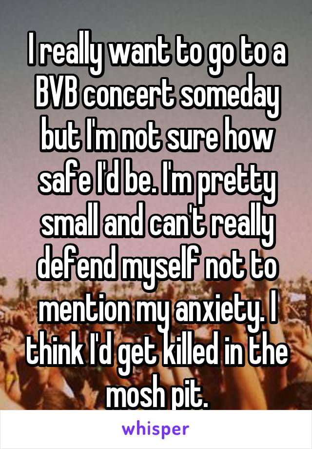 I really want to go to a BVB concert someday but I'm not sure how safe I'd be. I'm pretty small and can't really defend myself not to mention my anxiety. I think I'd get killed in the mosh pit.
