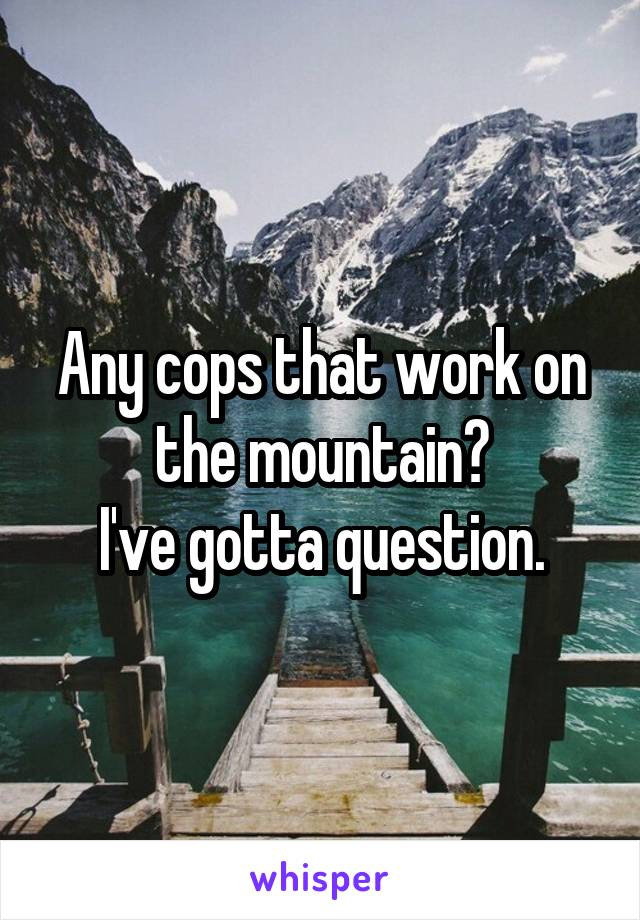 Any cops that work on the mountain? I've gotta question.