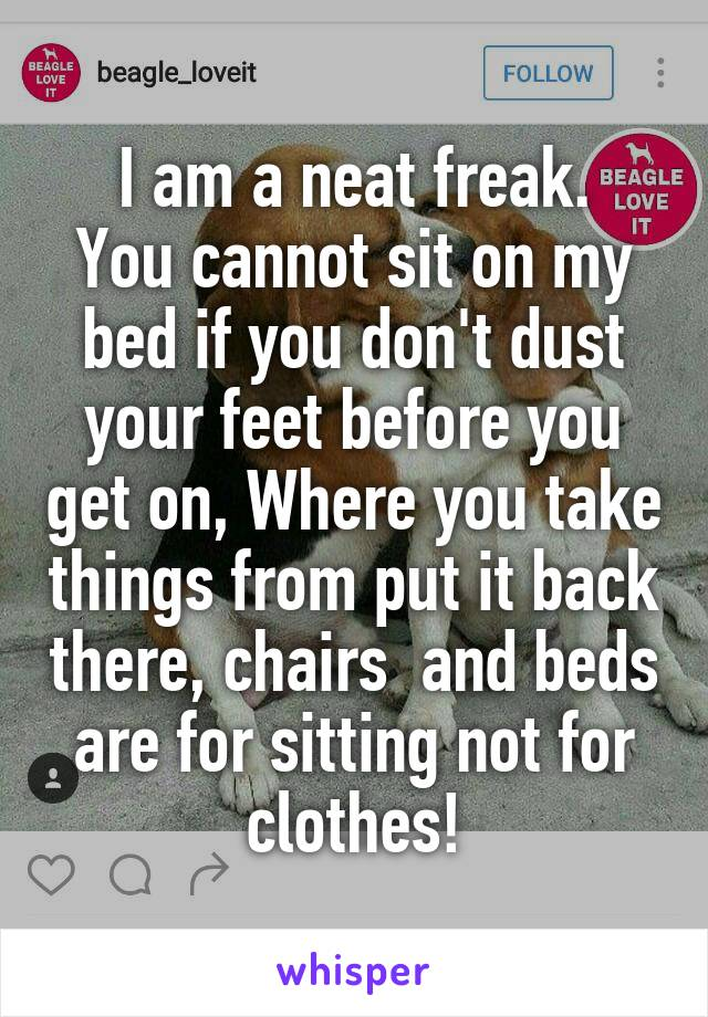 I am a neat freak. You cannot sit on my bed if you don't dust your feet before you get on, Where you take things from put it back there, chairs  and beds are for sitting not for clothes!