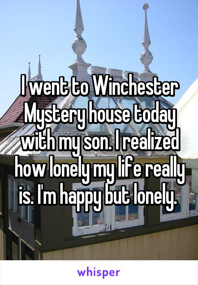 I went to Winchester Mystery house today with my son. I realized how lonely my life really is. I'm happy but lonely.