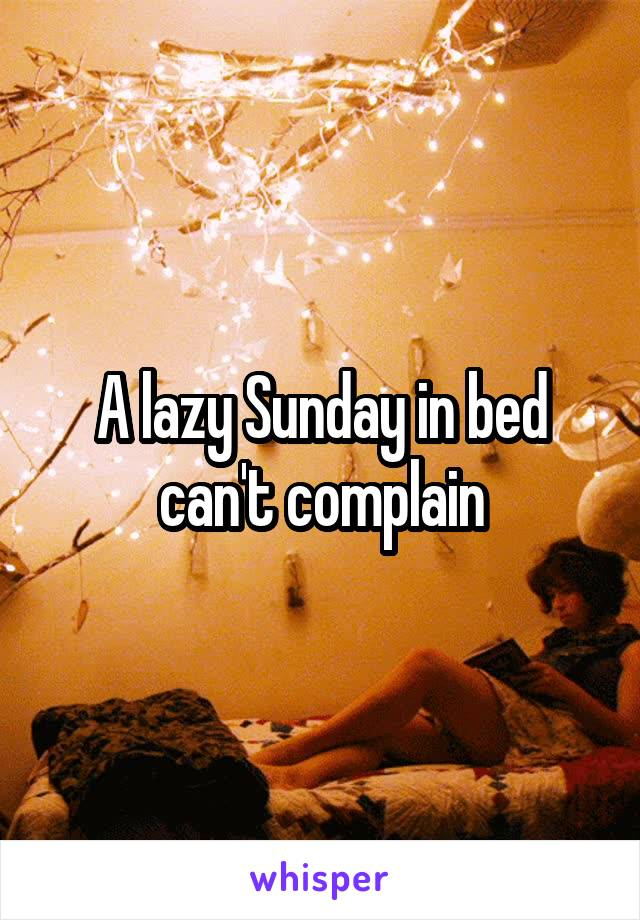 A lazy Sunday in bed can't complain