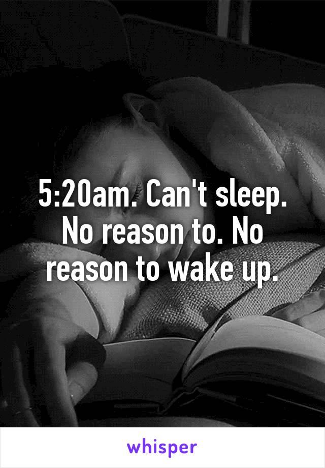 5:20am. Can't sleep. No reason to. No reason to wake up.