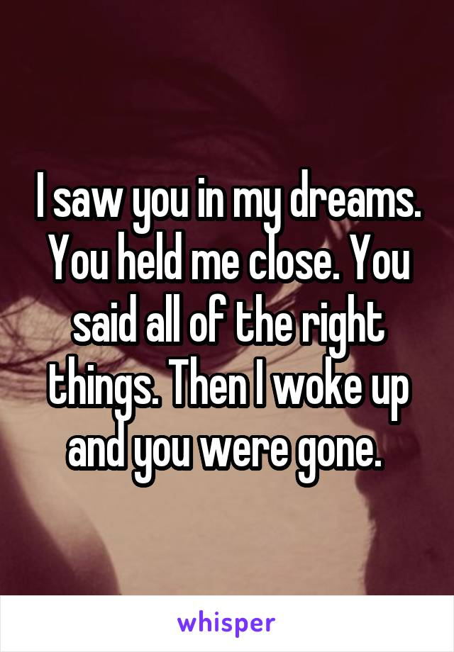 I saw you in my dreams. You held me close. You said all of the right things. Then I woke up and you were gone.