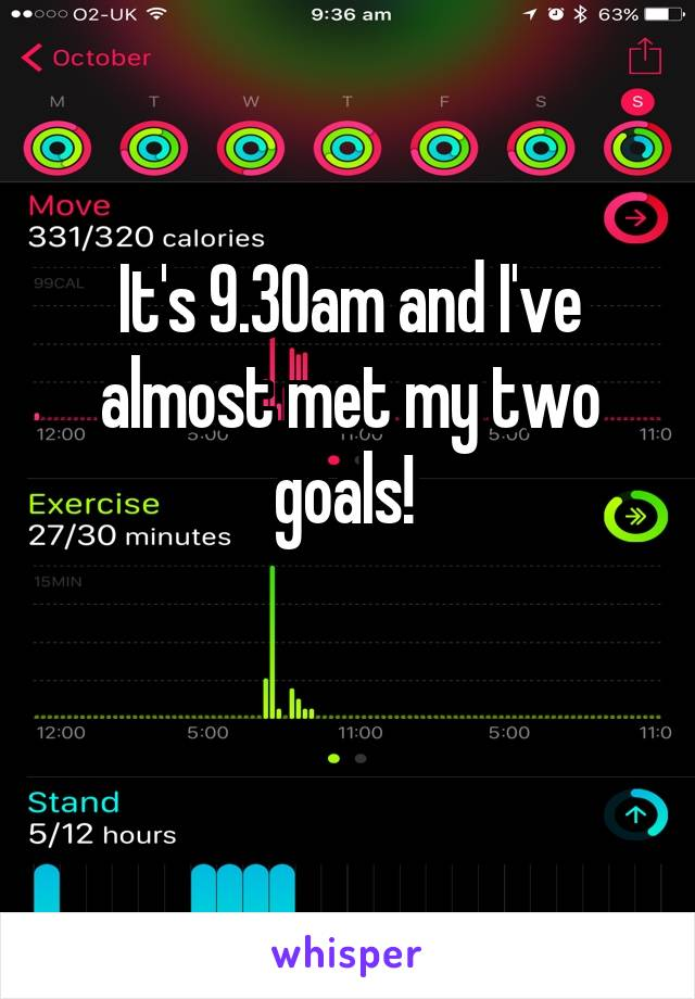 It's 9.30am and I've almost met my two goals!