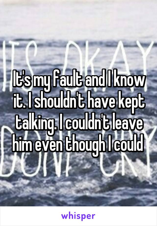It's my fault and I know it. I shouldn't have kept talking. I couldn't leave him even though I could