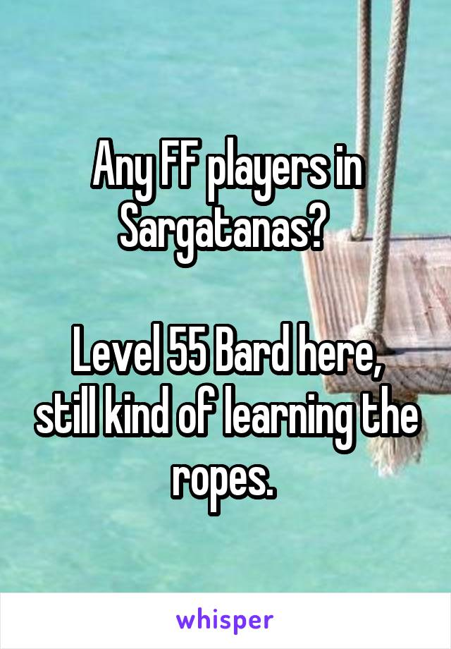 Any FF players in Sargatanas?   Level 55 Bard here, still kind of learning the ropes.