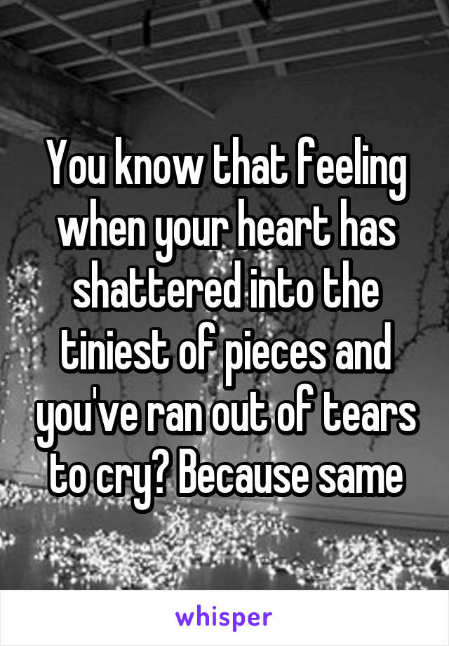 You know that feeling when your heart has shattered into the tiniest of pieces and you've ran out of tears to cry? Because same