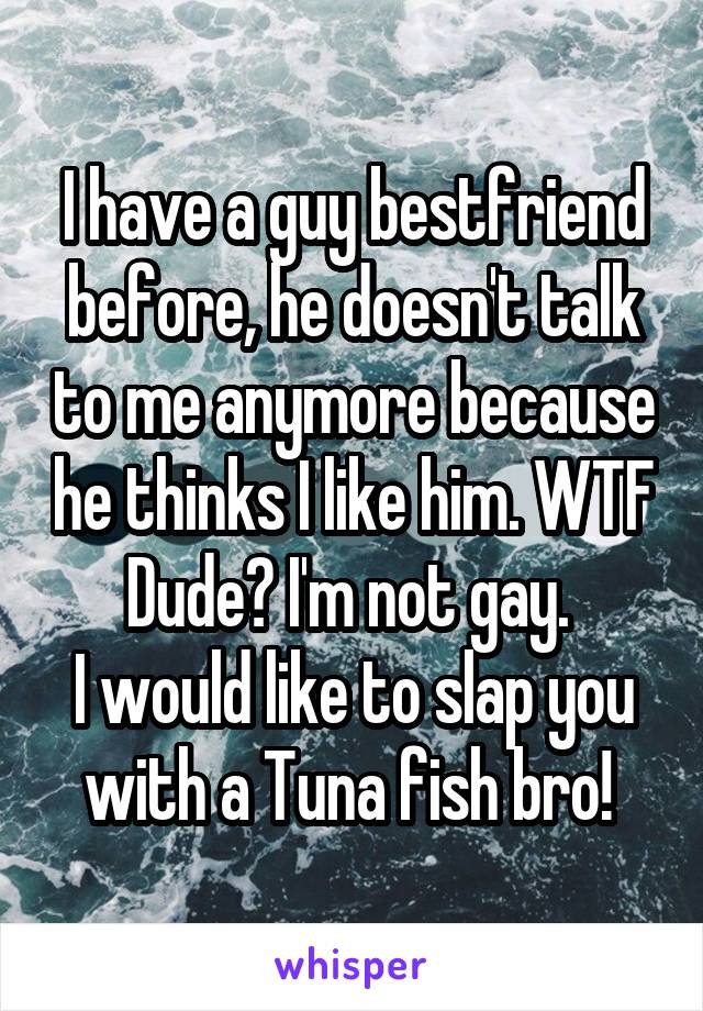 I have a guy bestfriend before, he doesn't talk to me anymore because he thinks I like him. WTF Dude? I'm not gay.  I would like to slap you with a Tuna fish bro!