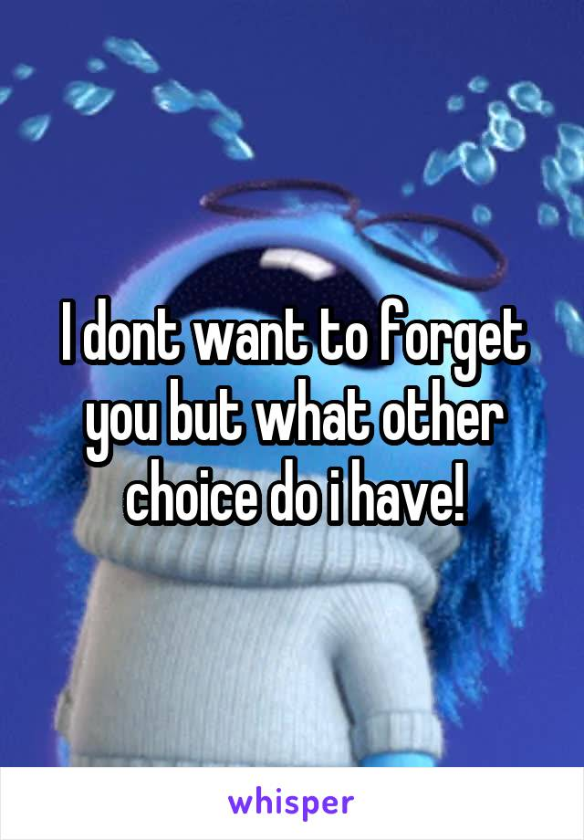 I dont want to forget you but what other choice do i have!