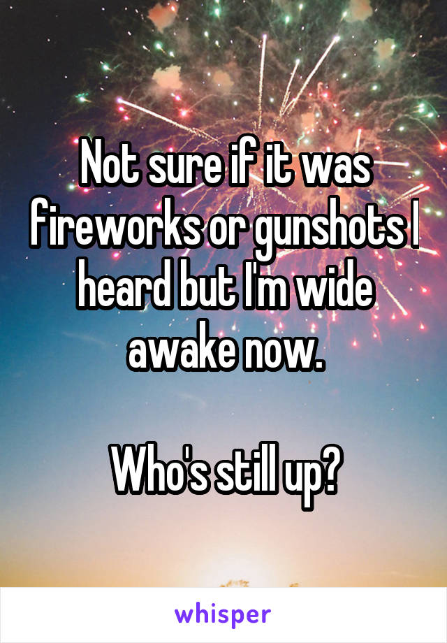Not sure if it was fireworks or gunshots I heard but I'm wide awake now.  Who's still up?
