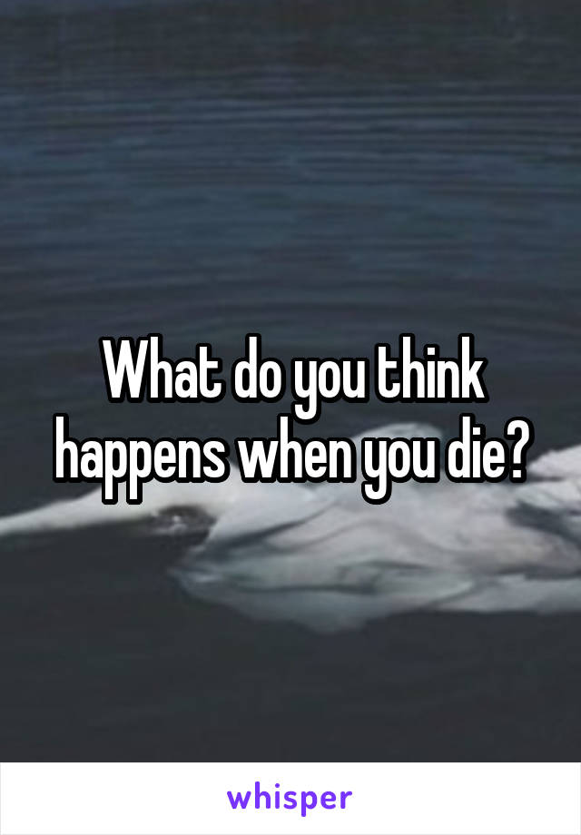 What do you think happens when you die?