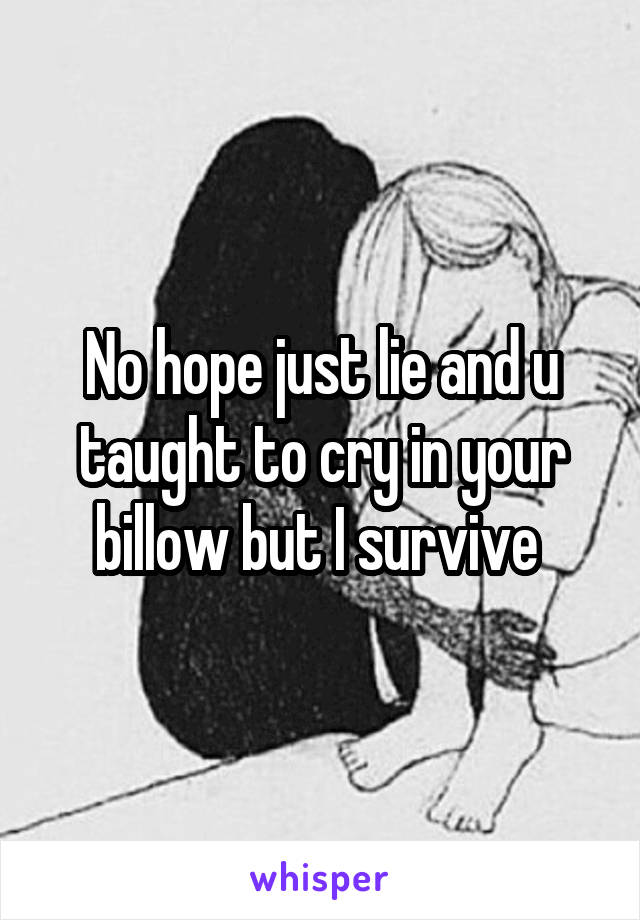 No hope just lie and u taught to cry in your billow but I survive