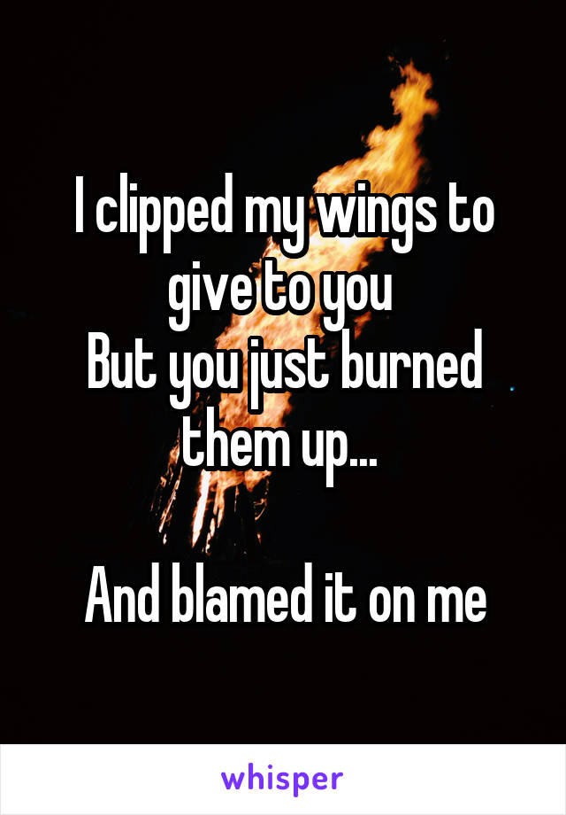 I clipped my wings to give to you  But you just burned them up...   And blamed it on me