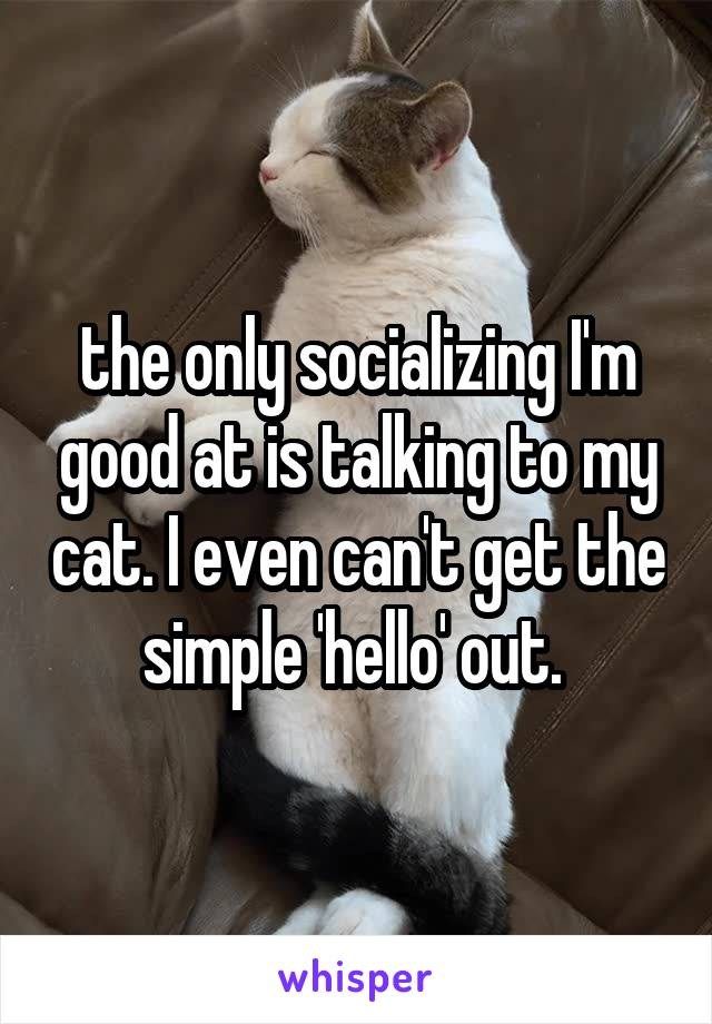 the only socializing I'm good at is talking to my cat. I even can't get the simple 'hello' out.