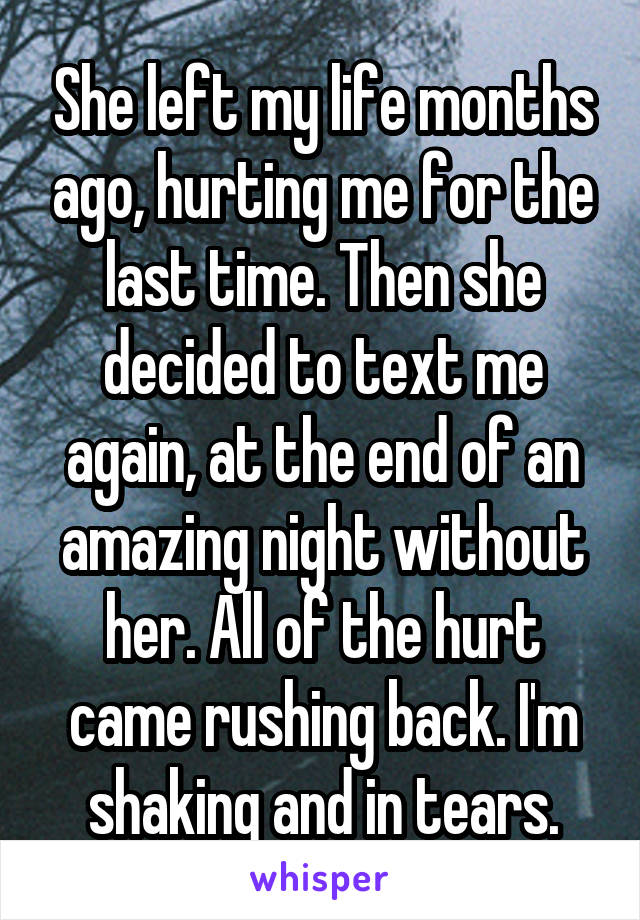 She left my life months ago, hurting me for the last time. Then she decided to text me again, at the end of an amazing night without her. All of the hurt came rushing back. I'm shaking and in tears.