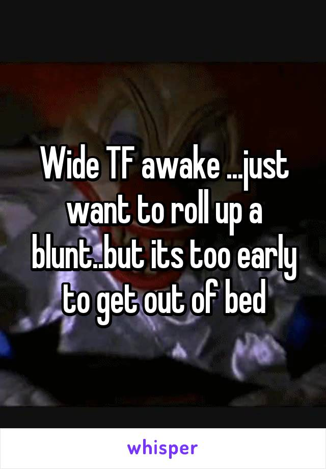 Wide TF awake ...just want to roll up a blunt..but its too early to get out of bed