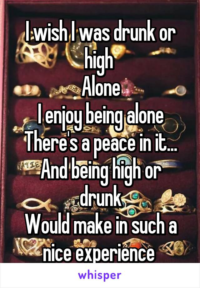 I wish I was drunk or high  Alone I enjoy being alone There's a peace in it... And being high or drunk Would make in such a nice experience