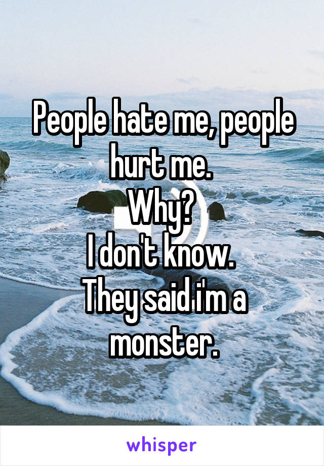 People hate me, people hurt me.  Why?  I don't know.  They said i'm a monster.