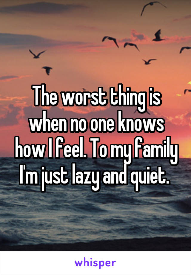 The worst thing is when no one knows how I feel. To my family I'm just lazy and quiet.