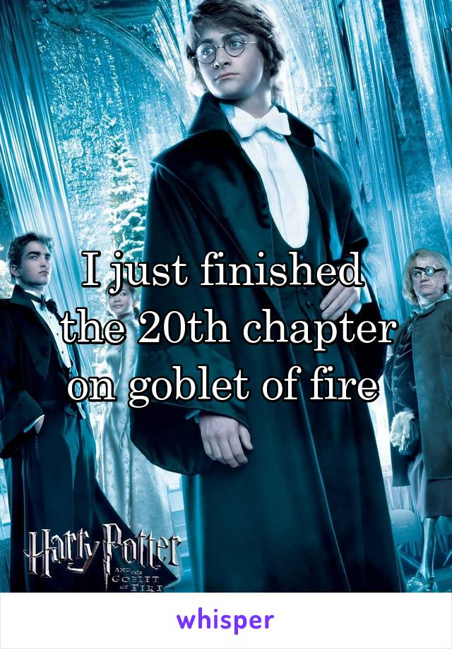 I just finished  the 20th chapter on goblet of fire