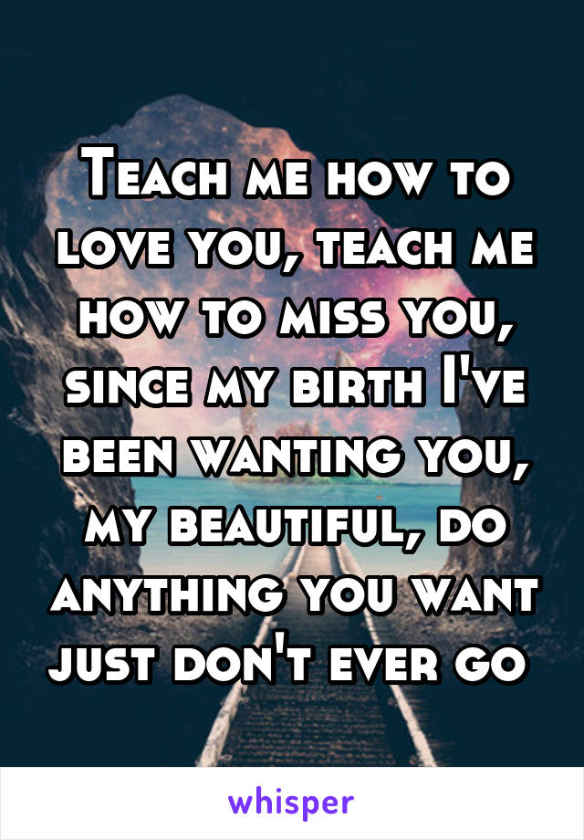 Teach me how to love you, teach me how to miss you, since my birth I've been wanting you, my beautiful, do anything you want just don't ever go