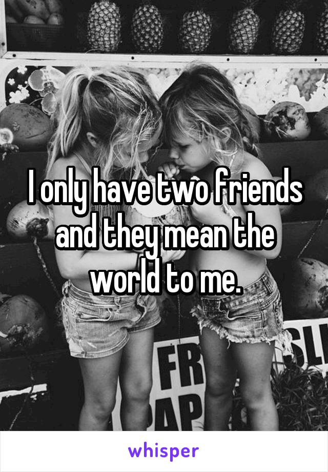 I only have two friends and they mean the world to me.