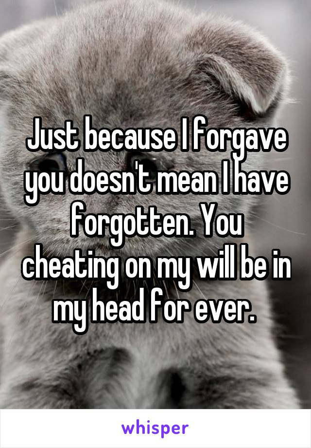 Just because I forgave you doesn't mean I have forgotten. You cheating on my will be in my head for ever.