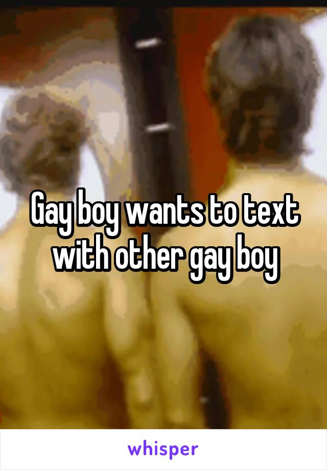 Gay boy wants to text with other gay boy