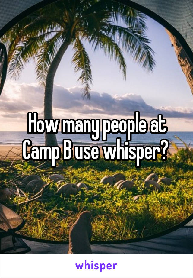 How many people at Camp B use whisper?