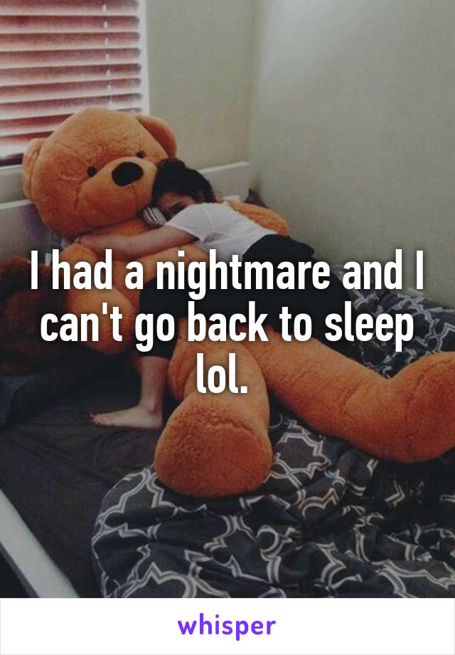 I had a nightmare and I can't go back to sleep lol.