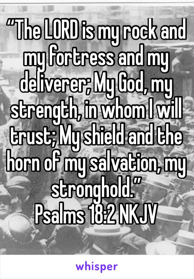 """""""The LORD is my rock and my fortress and my deliverer; My God, my strength, in whom I will trust; My shield and the horn of my salvation, my stronghold."""" Psalms 18:2 NKJV"""