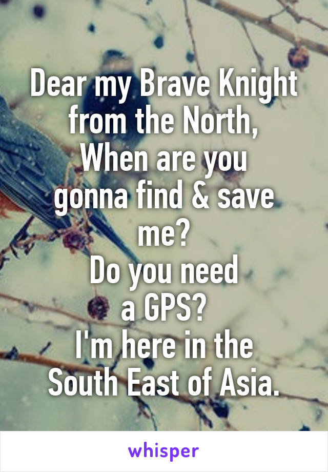 Dear my Brave Knight from the North, When are you gonna find & save me? Do you need a GPS? I'm here in the South East of Asia.
