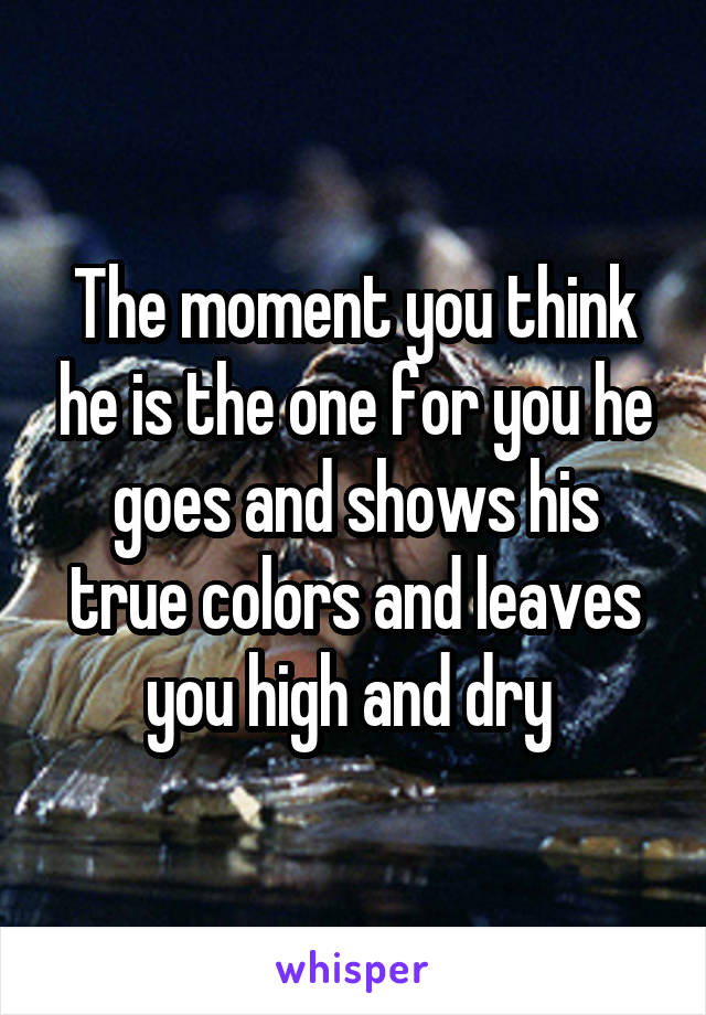 The moment you think he is the one for you he goes and shows his true colors and leaves you high and dry