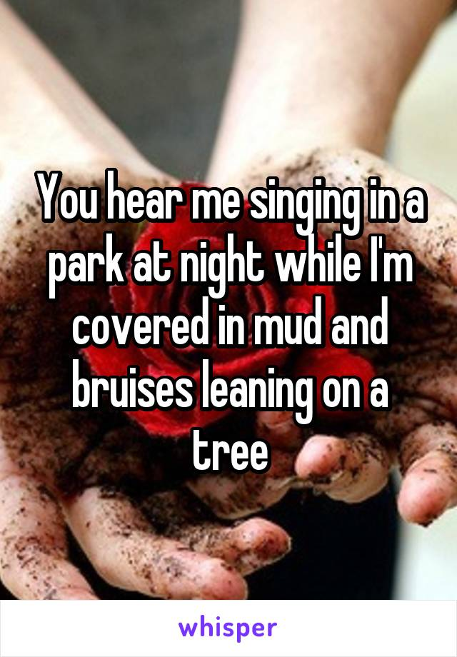 You hear me singing in a park at night while I'm covered in mud and bruises leaning on a tree
