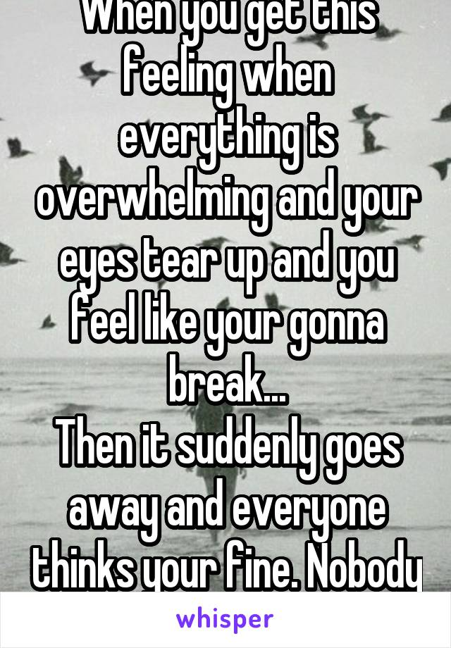 When you get this feeling when everything is overwhelming and your eyes tear up and you feel like your gonna break... Then it suddenly goes away and everyone thinks your fine. Nobody knows the real me