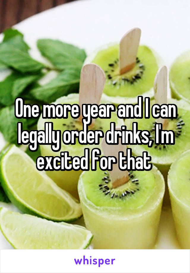 One more year and I can legally order drinks, I'm excited for that