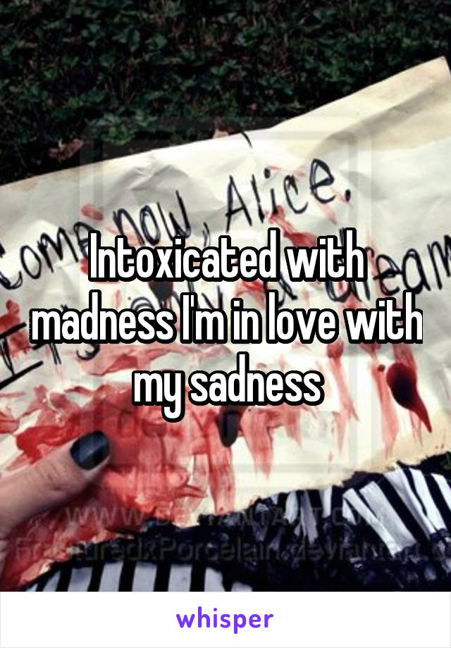 Intoxicated with madness I'm in love with my sadness