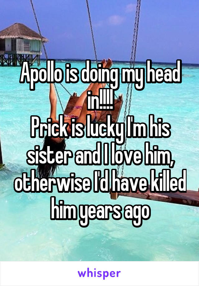 Apollo is doing my head in!!!! Prick is lucky I'm his sister and I love him, otherwise I'd have killed him years ago