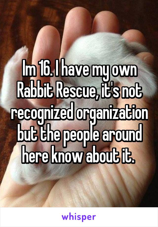 Im 16. I have my own Rabbit Rescue, it's not recognized organization but the people around here know about it.