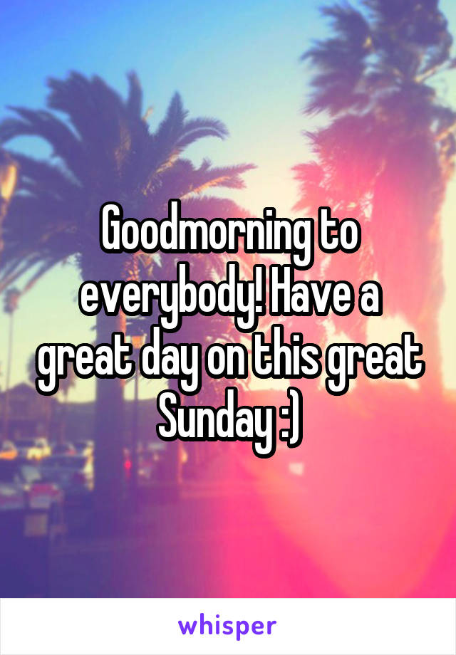 Goodmorning to everybody! Have a great day on this great Sunday :)