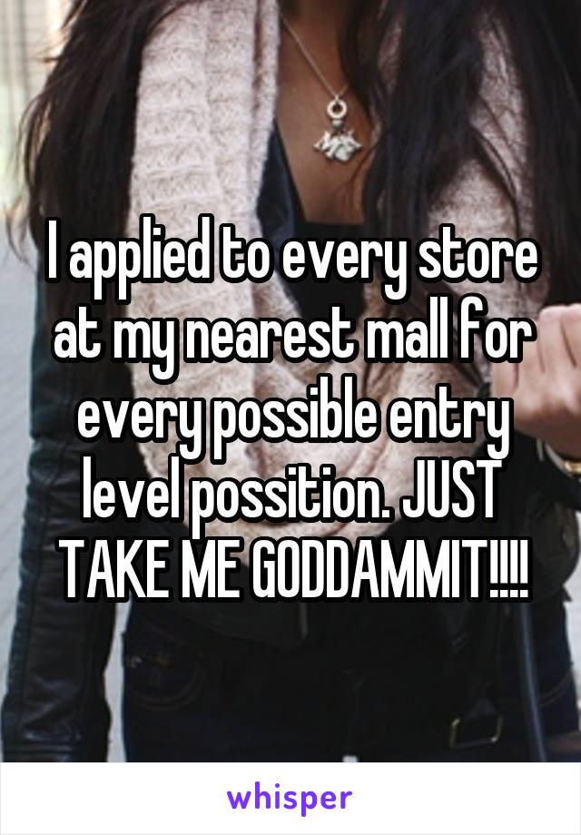 I applied to every store at my nearest mall for every possible entry level possition. JUST TAKE ME GODDAMMIT!!!!