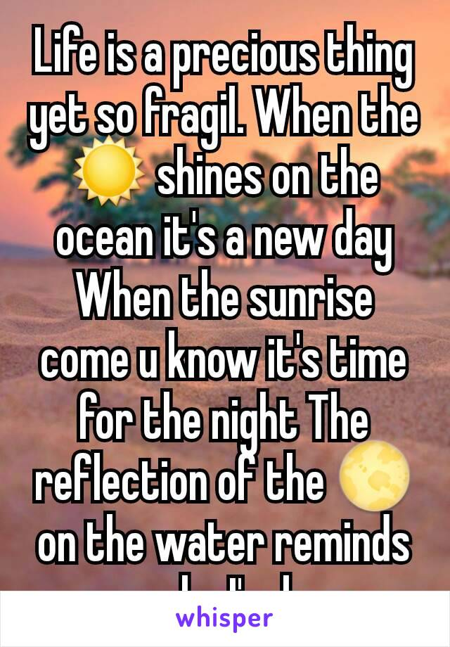 Life is a precious thing yet so fragil. When the ☀ shines on the ocean it's a new day When the sunrise come u know it's time for the night The reflection of the 🌕 on the water reminds me why I'm here