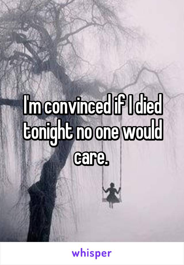 I'm convinced if I died tonight no one would care.