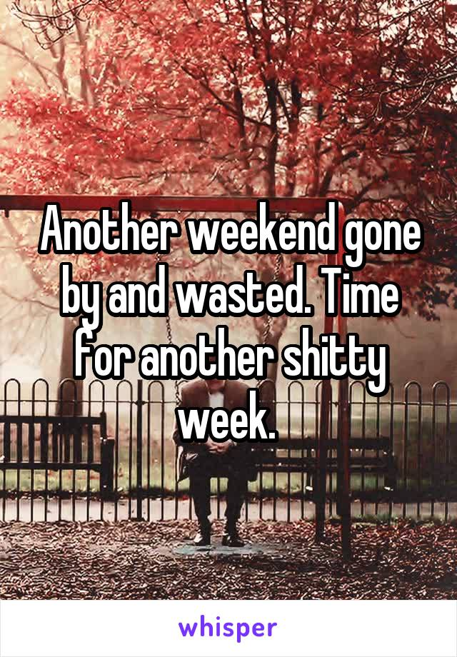 Another weekend gone by and wasted. Time for another shitty week.
