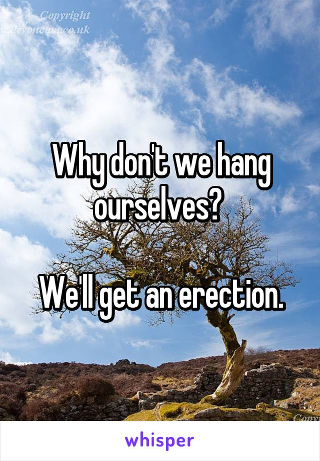 Why don't we hang ourselves?   We'll get an erection.