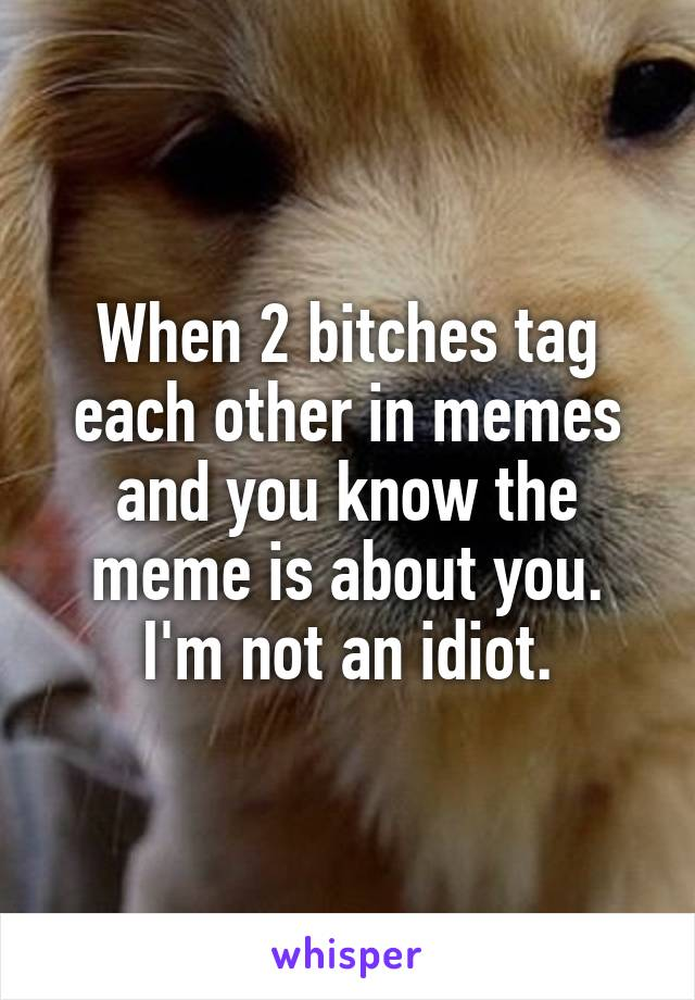 When 2 bitches tag each other in memes and you know the meme is about you. I'm not an idiot.